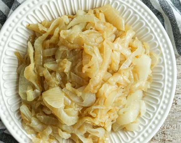 a bowl of caramelized onions