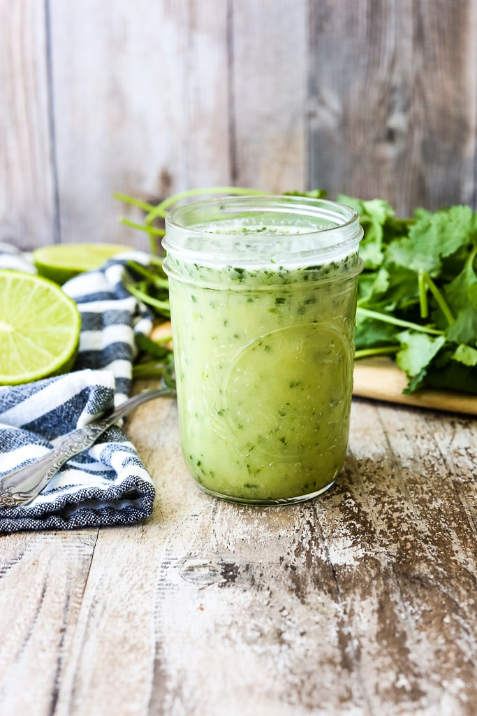 a jar of Cilantro Lime Dressing from the front
