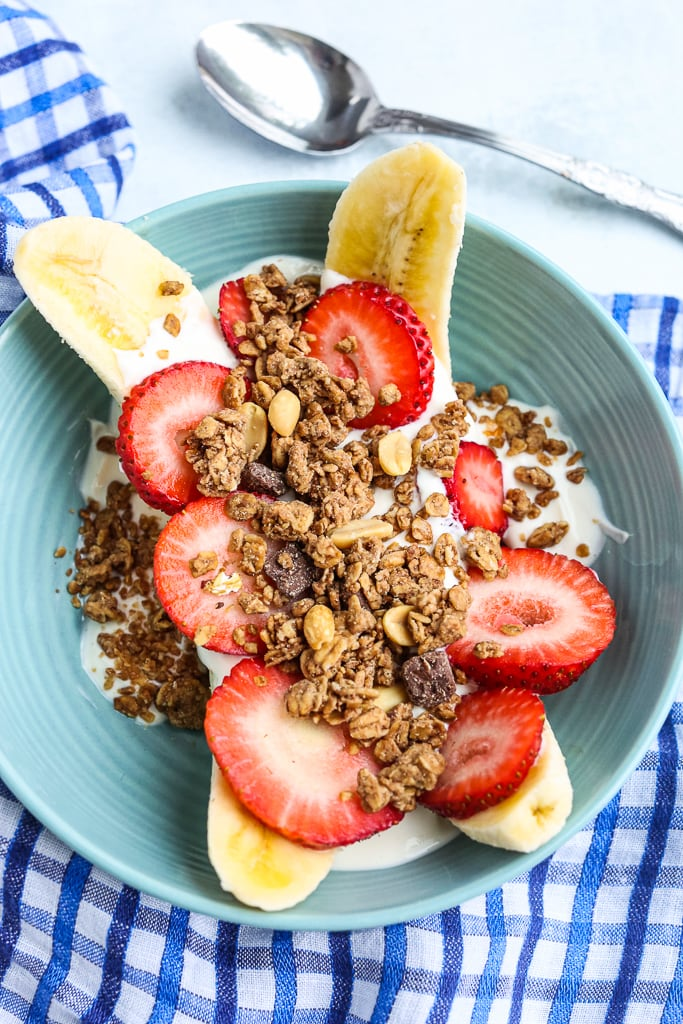 Healthy Banana Split Breakfast Bowl overhead shot
