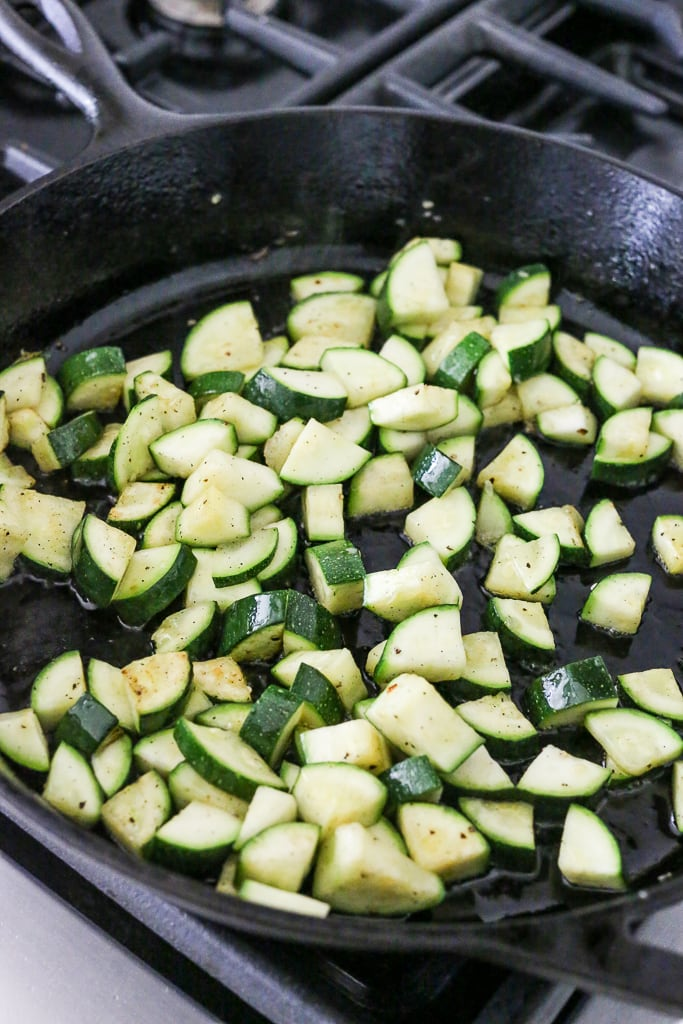 sauteing zucchini in a cast iron skillet
