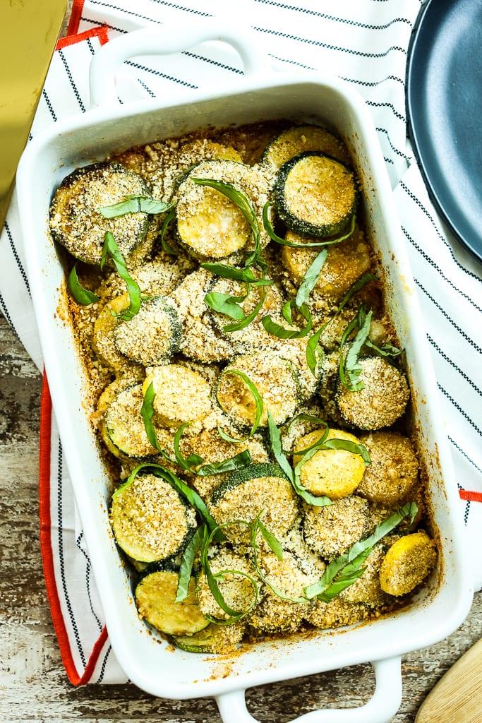 close up shot of zucchini gratin recipe
