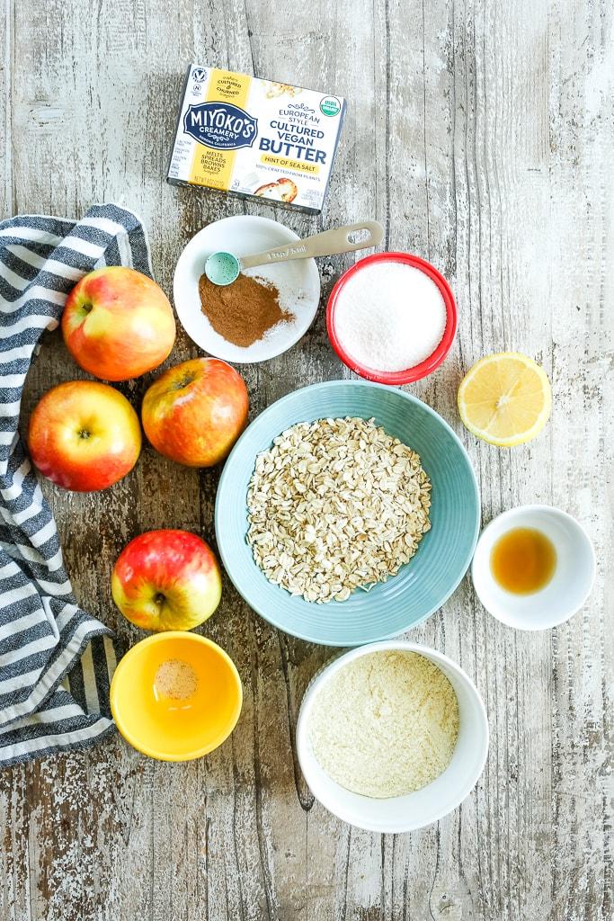 ingredients for healthy apple crisp recipe vegan and gluten-free