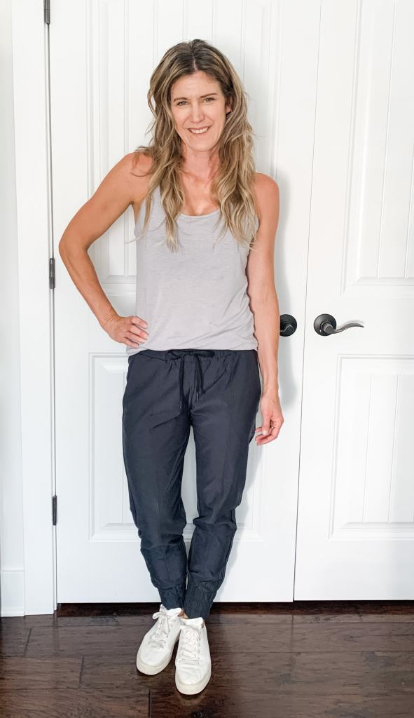 joggers with a gray tank