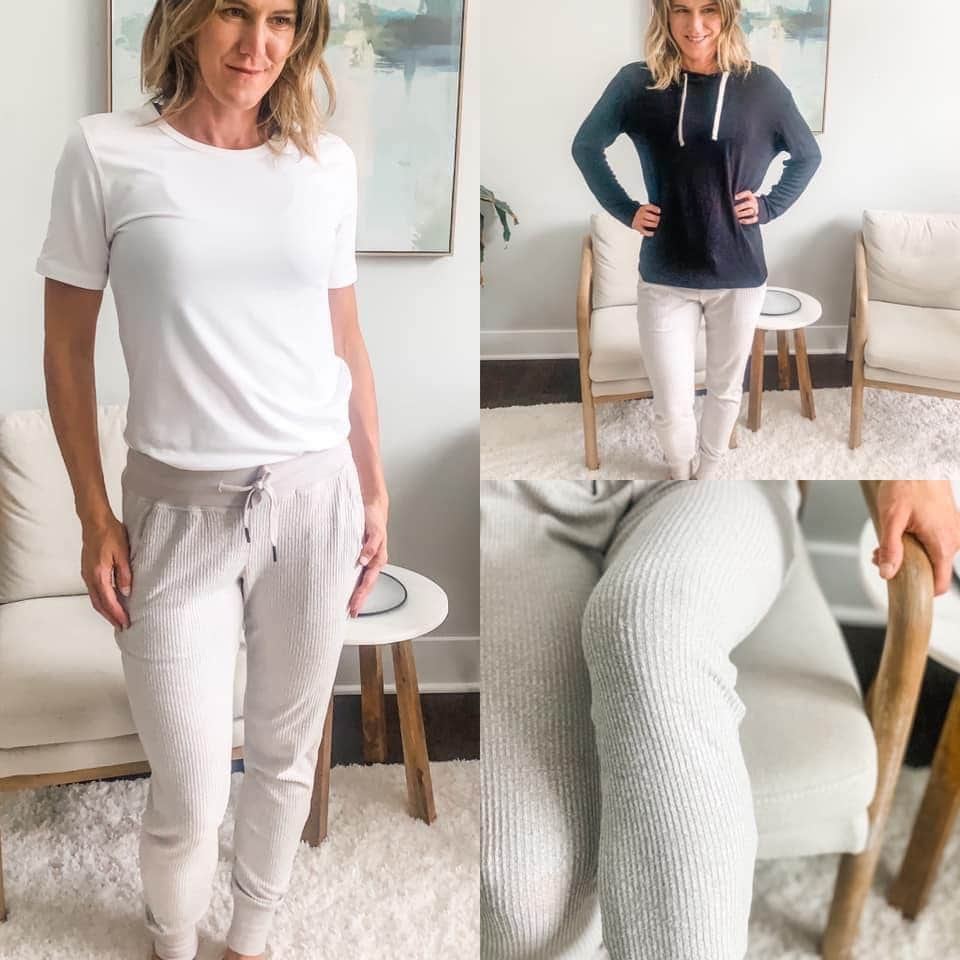 a photo collage of a woman in gray joggers