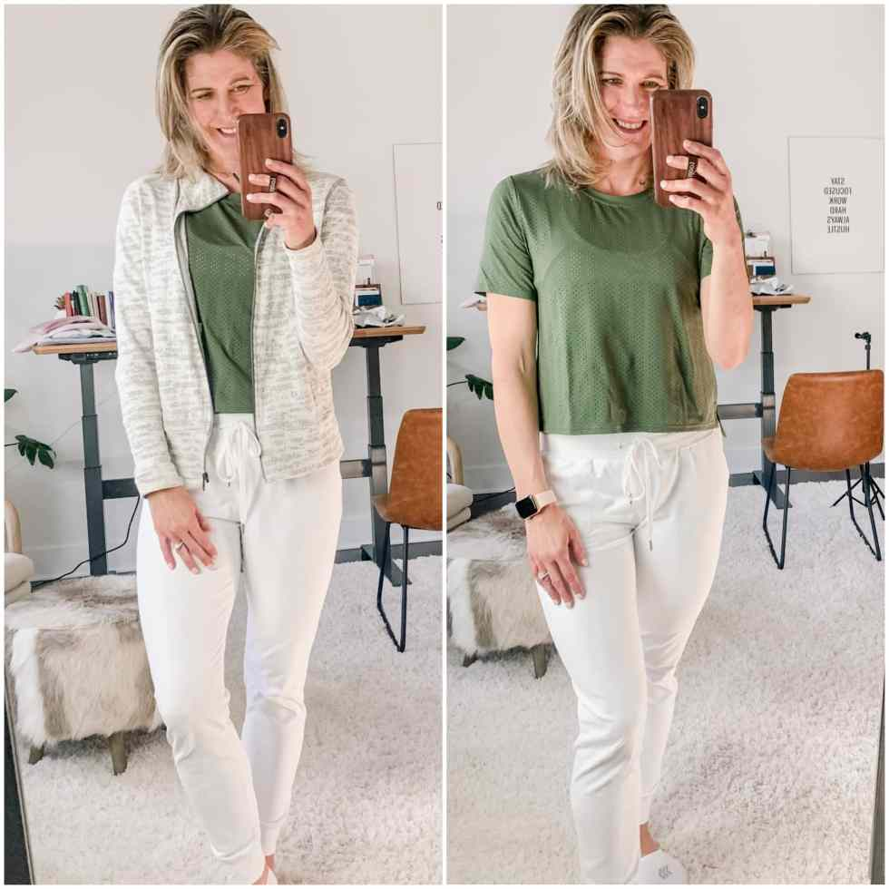 two jogger outfits--white joggers and green shirt