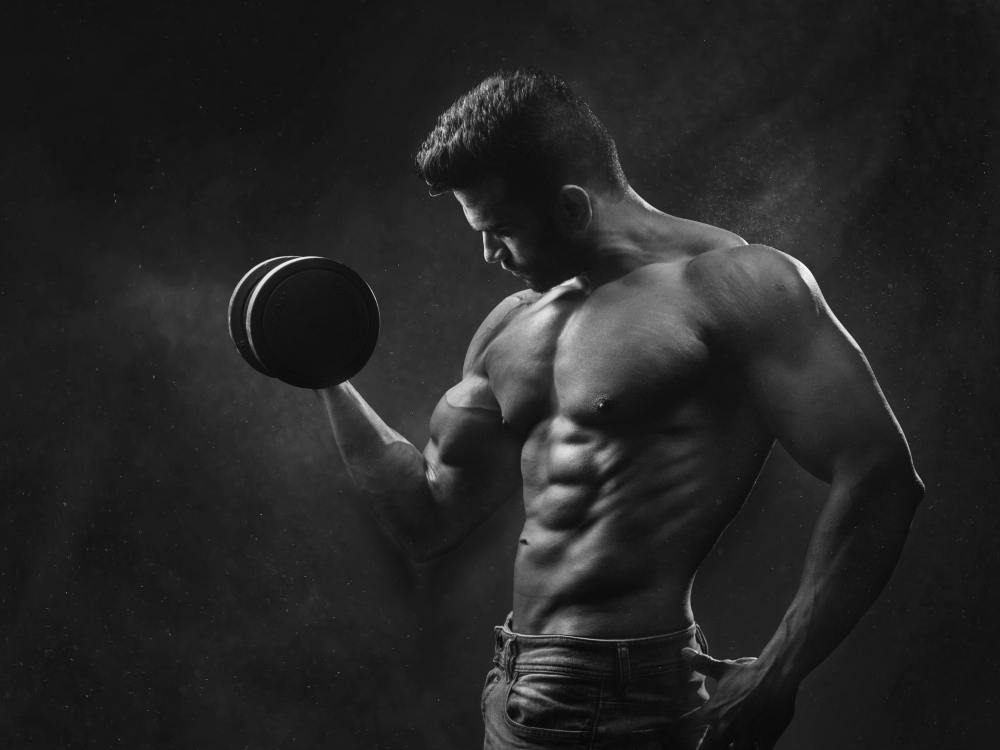 Man with Strong Muscles from Weightlifting