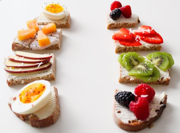 Bread With Healthy Foods On It- Eating Healthy Tips