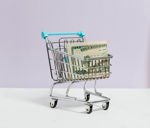 Cart With Money For Healthy Grocery Shopping On A Budget