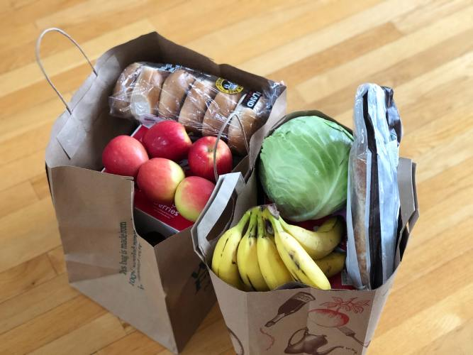 Grocery Bags Filled With Food