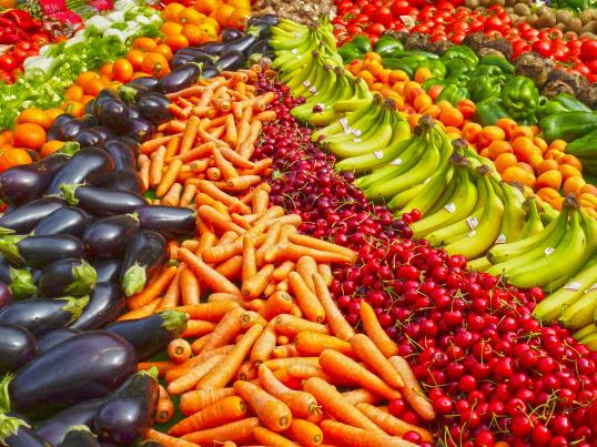Fruits & Vegetables - Eggplant, Carrots, Cherries, Bananas, Oranges, And Peppers