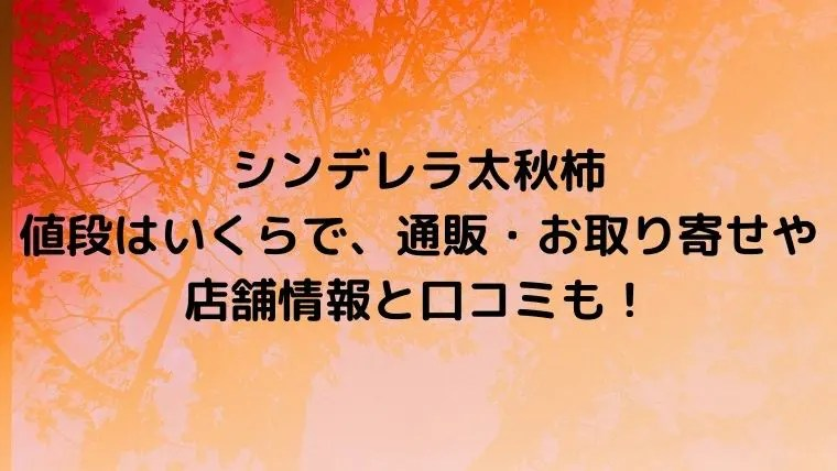 シンデレラ太秋柿の値段はいくら?通販・お取り寄せや店舗情報と口コミも!