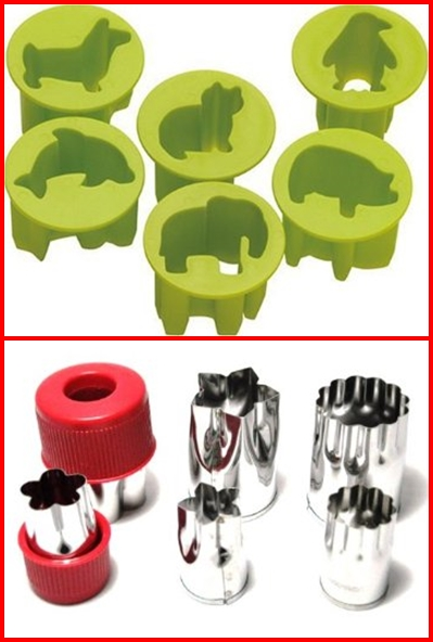(top)Kai FG5032 Chuboos Vegetable Cutter by Chuboos (bottom) Set of Six Stainless Steel Food Prep Cutting Molds With Hand Guard by M.V. Trading Co.