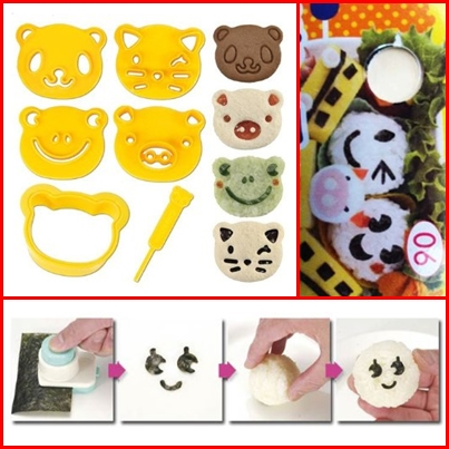 (upper left) CuteZCute Animal Friends Food Deco Cutter and Stamp Kit (right and bottom) Nori Punch For Decorating Bento Lunch Box BO