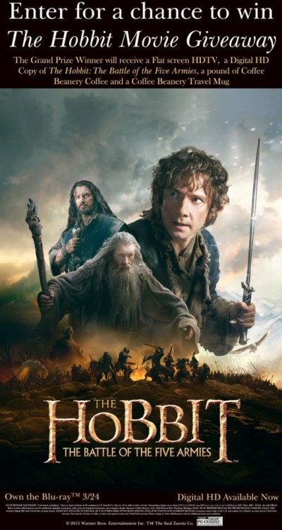 Coffee Beanery's The Hobbit The Battle of the Five Armies Movie Sweepstakes