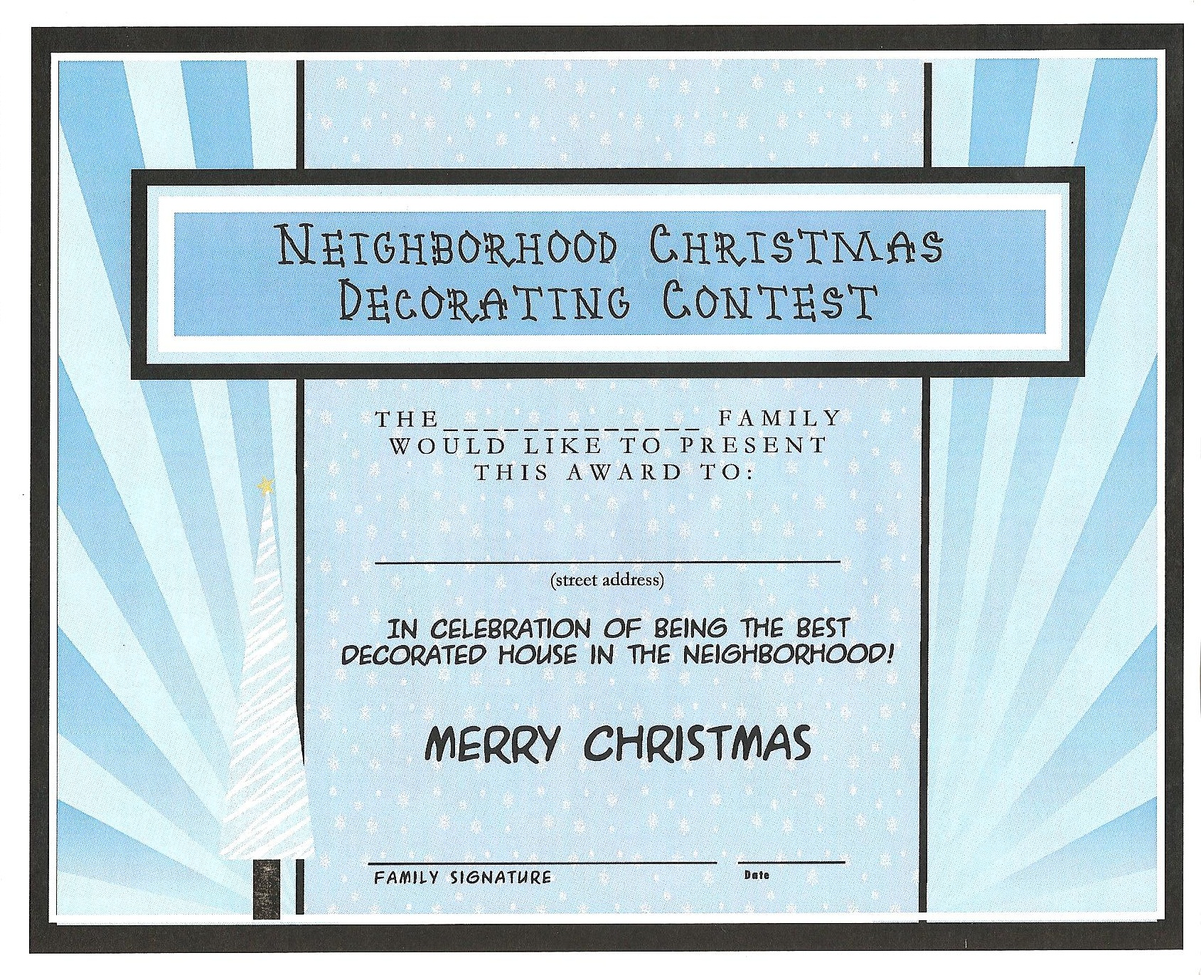 Best decorated house for christmas free printable certificate happy xflitez Image collections