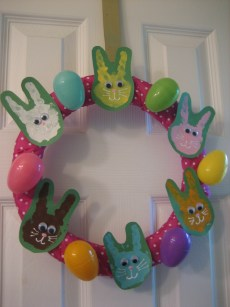 Easter Craft – Handprint Bunny Wreath
