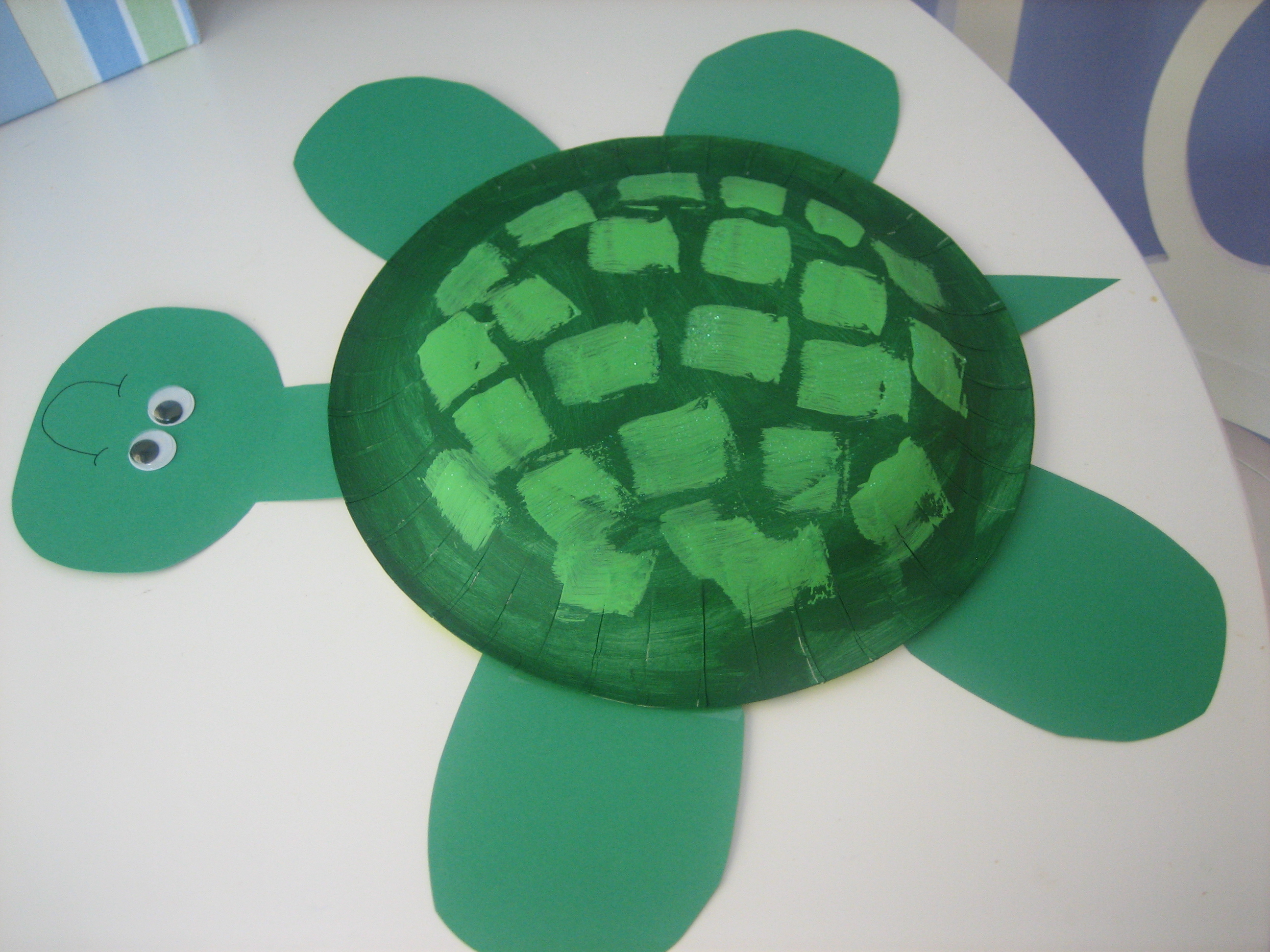 Step 3 \u2013 Cut out some feet a tail and a head for your turtle. Attach with tape. & Summer Craft - Paper Plate Turtle - Happy Home Fairy