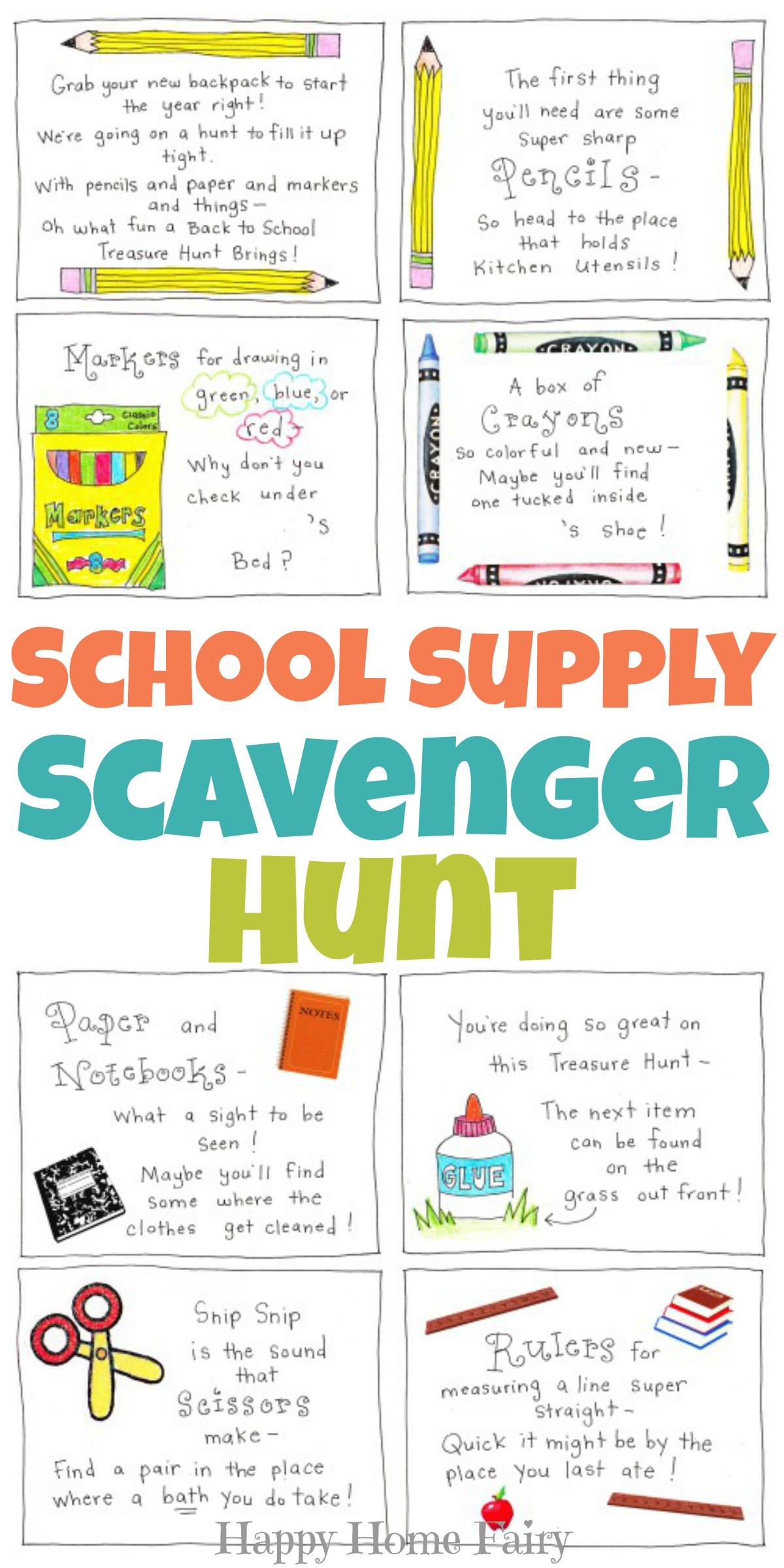 Back To School Supply Scavenger Hunt