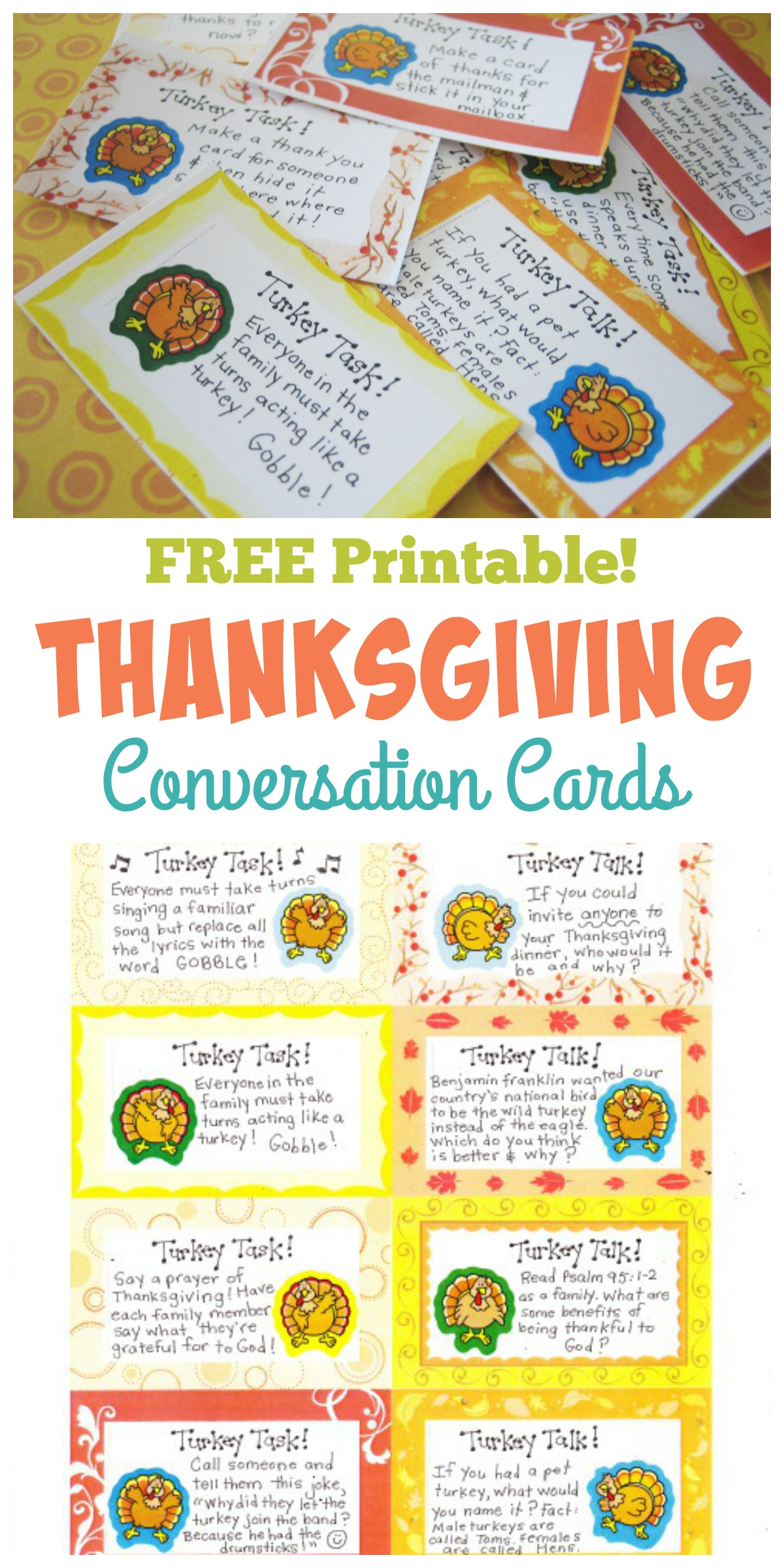 photograph regarding Printable Conversation Cards known as Thanksgiving Interaction Playing cards - Free of charge Printables! - Satisfied