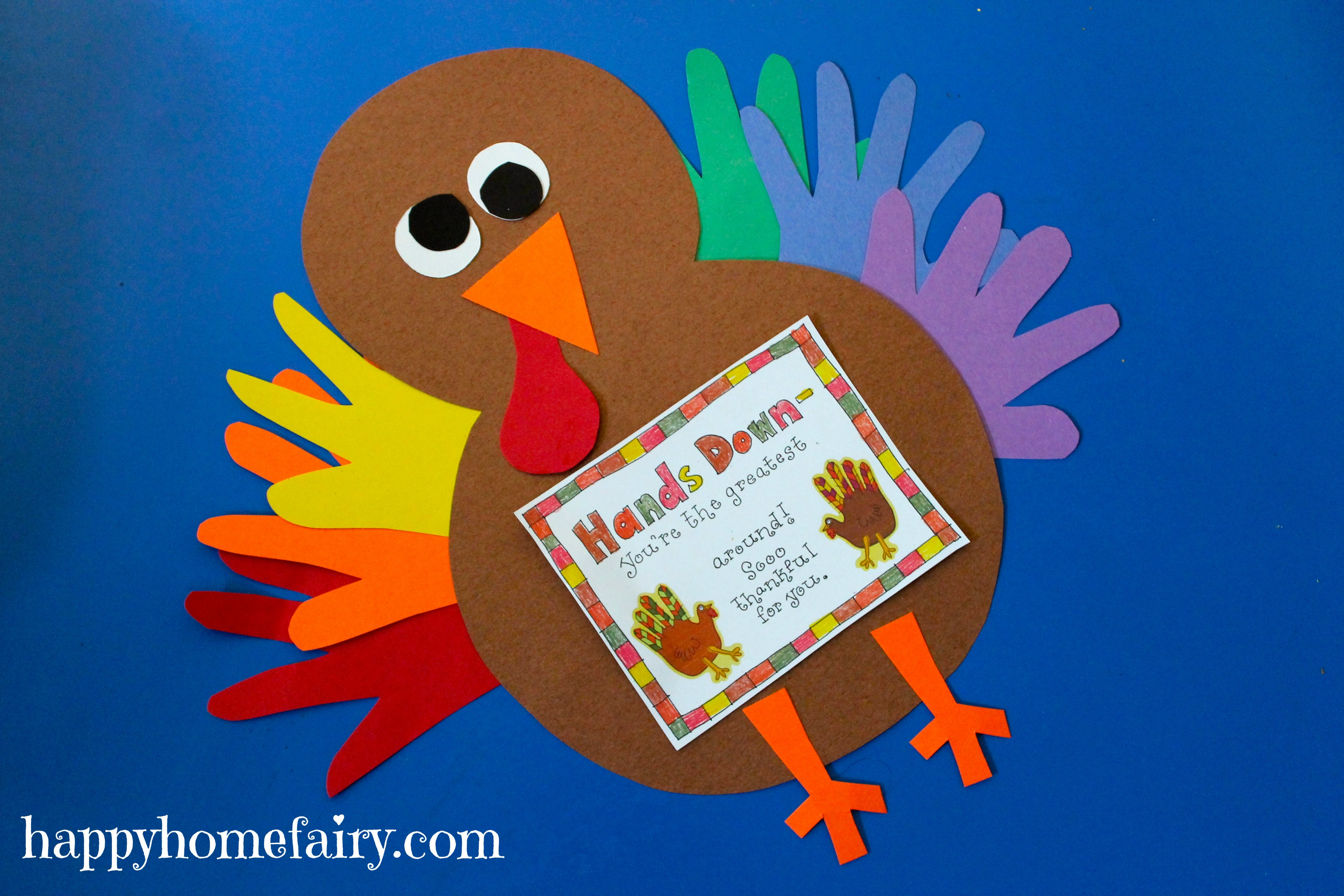 Thankful Handprint Turkey Craft FREE Printable Happy Home Fairy