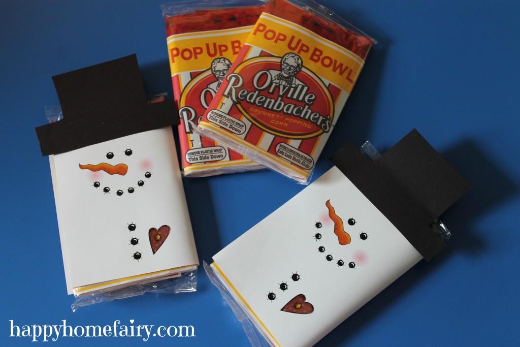 Snowman Popcorn Wrapper FREE Printable Happy Home Fairy
