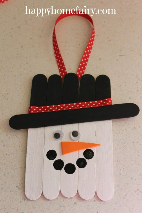 Popsicle Stick Snowman Door Hanger Happy Home Fairy