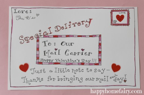 free printable valentine for your mail carrier at happyhomefairy.com!