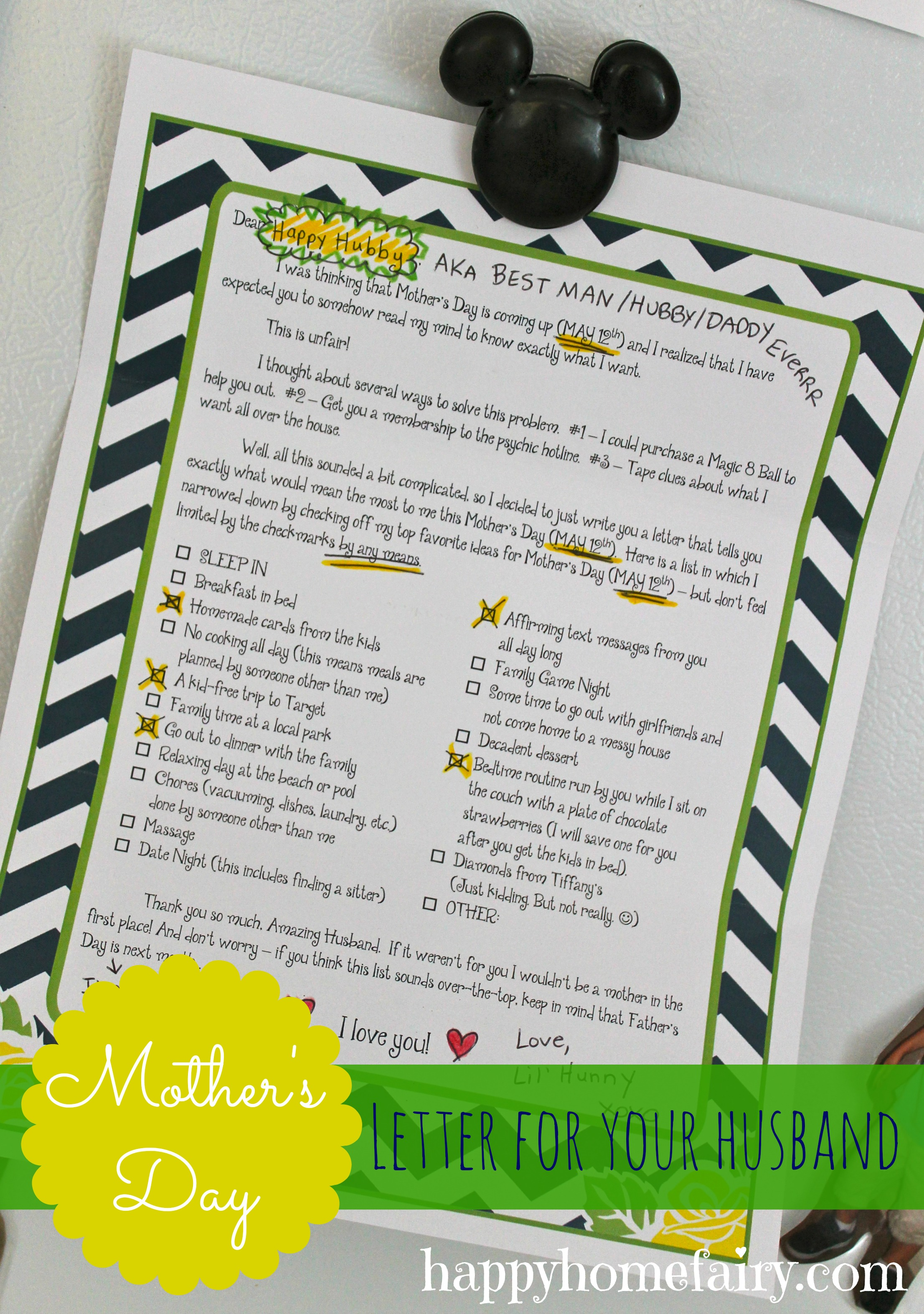 image regarding The Father's Love Letter Printable identified as How in direction of Assistance Your Hubby Deliver By yourself the Ideal Moms Working day At any time