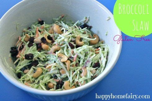 Broccoli Slaw Recipe at happyhomefairy.com - a great side dish for summer potlucks!