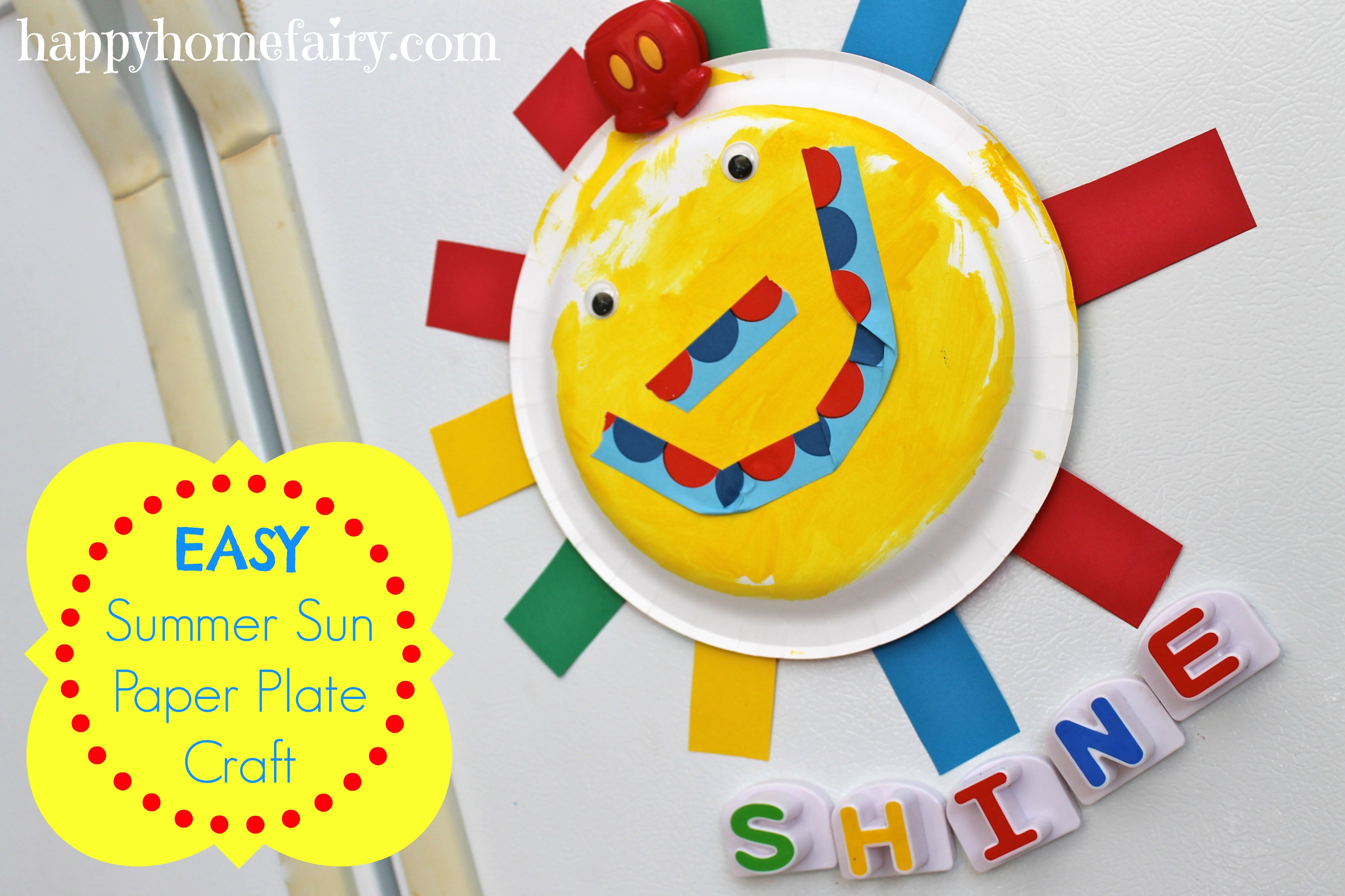 easy summer sun paper plate craft! sooo cute!  sc 1 st  Happy Home Fairy : paper plate crafts kids - pezcame.com