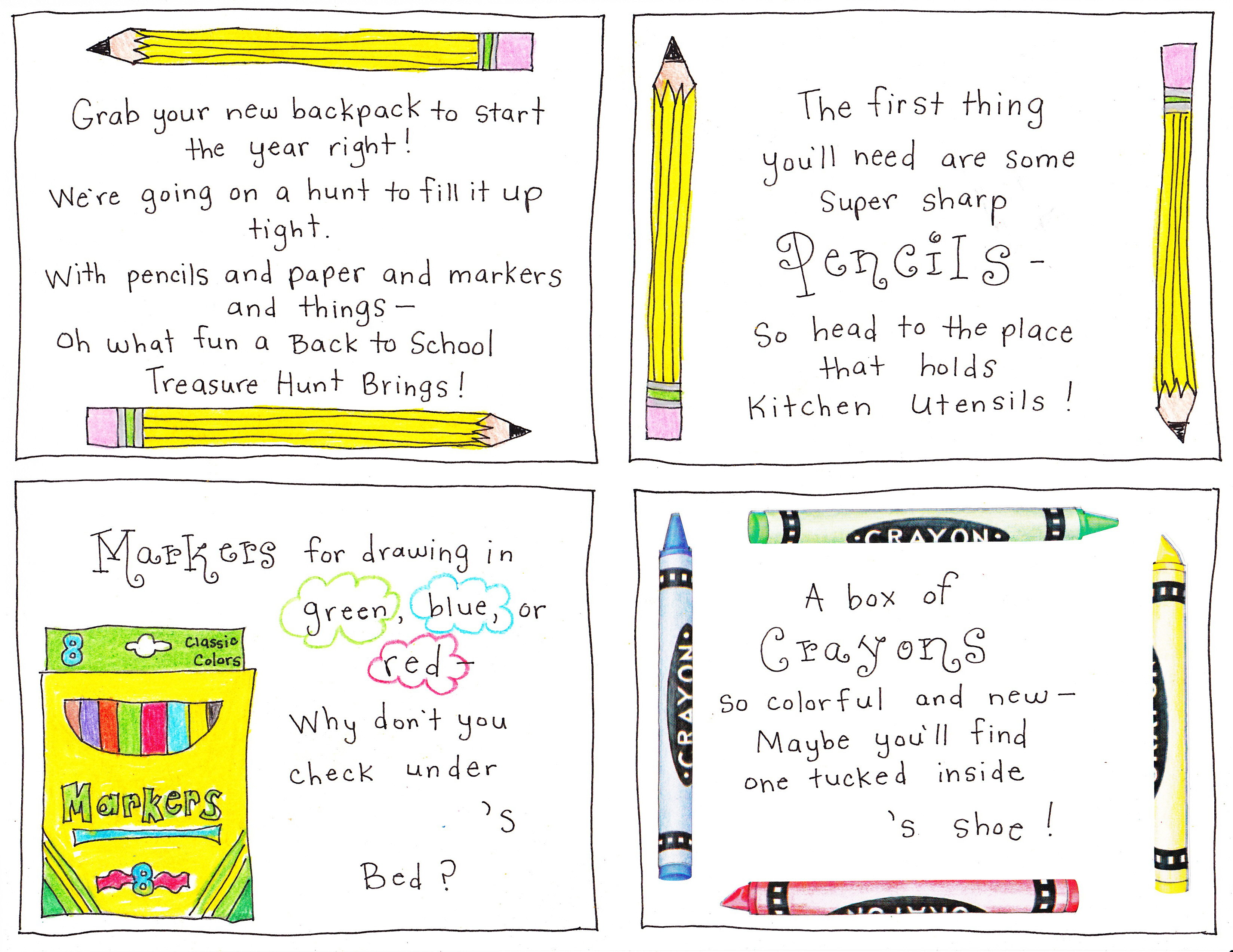 Back To School Supply Scavenger Hunt