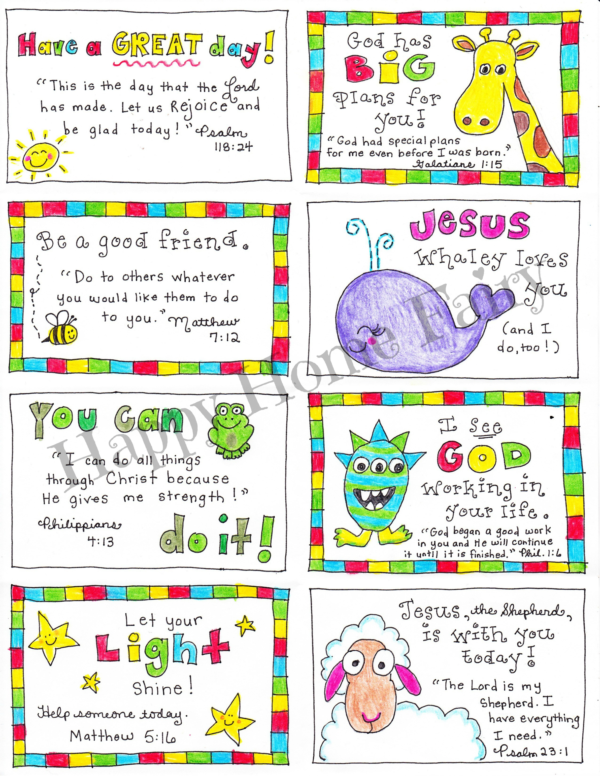 This is a graphic of Printable Lunchbox Notes throughout kindergarten