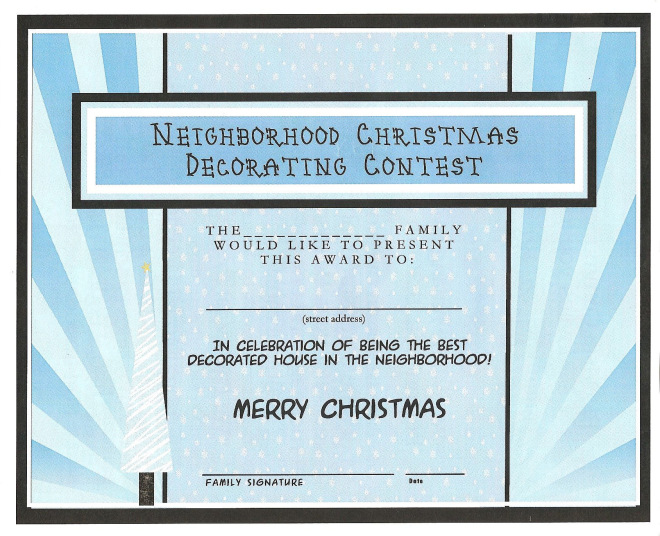 Best Decorated House Certificate