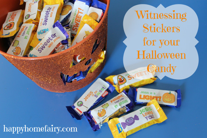 free printable witnessing stickers for halloween candy at happyhomefairy.com