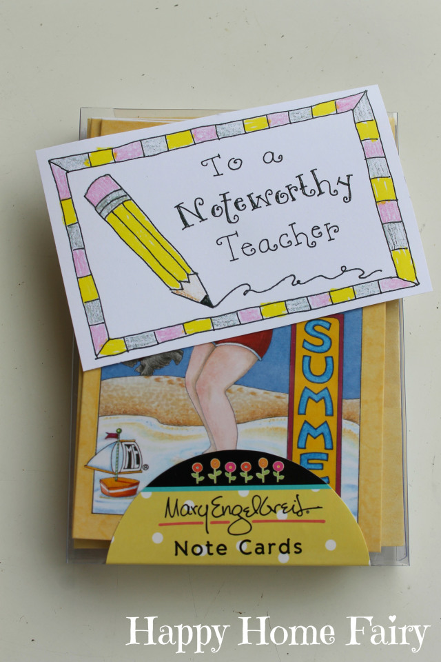 teacher appreciation free printable - notecards