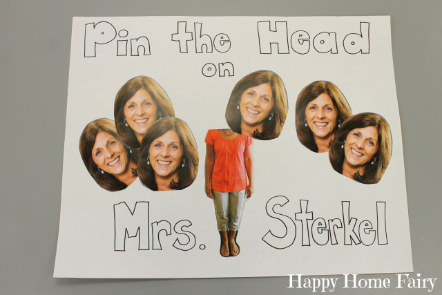 pin the head on the teacher - end of year party game