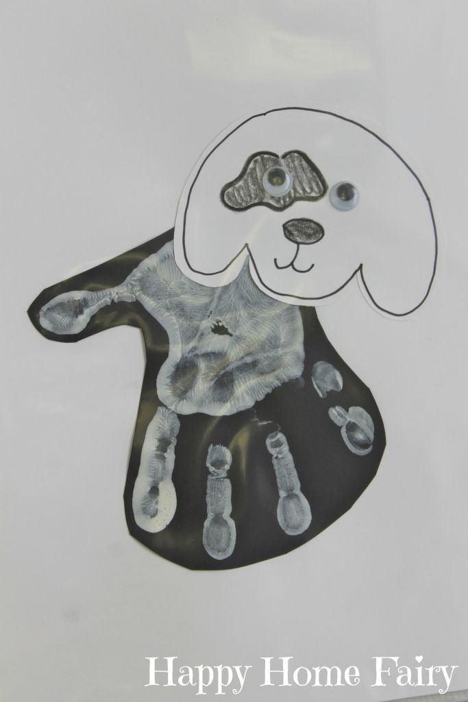 Brown Bear White Dog Handprint