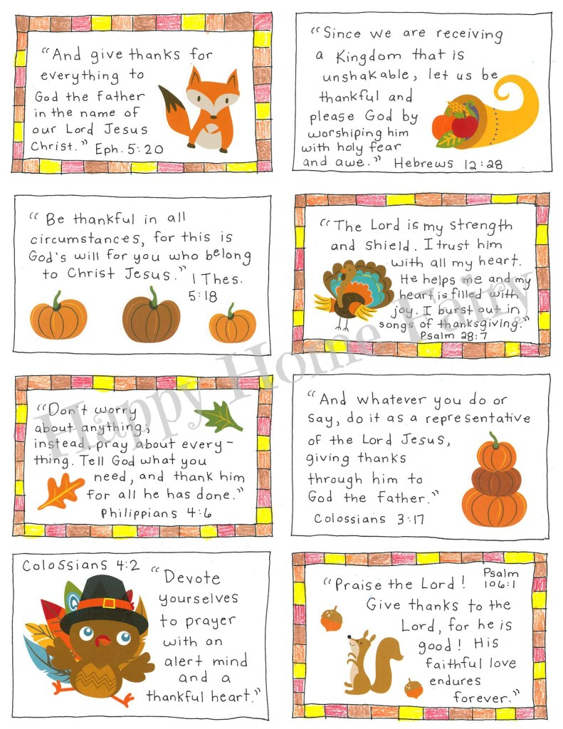 Thanksgiving Scripture Cards at Happy Home Fairy