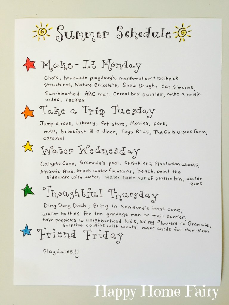 Simple Summer Schedule at Happy Home Fairy!