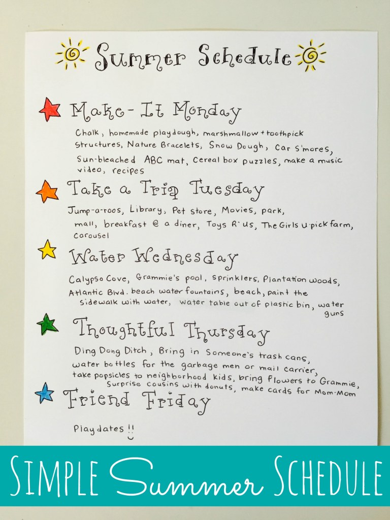 Simple Summer Schedule For Kids Happy Home Fairy