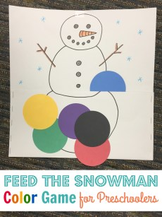 Feed the Snowman Game for Preschoolers