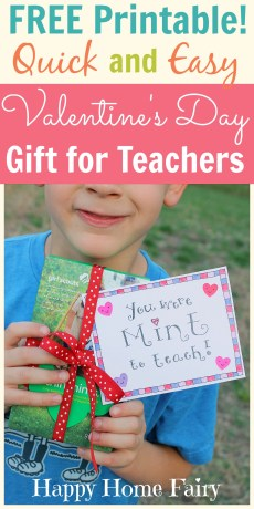 Easy Valentine's Day Gift for Teachers – FREE Printable!