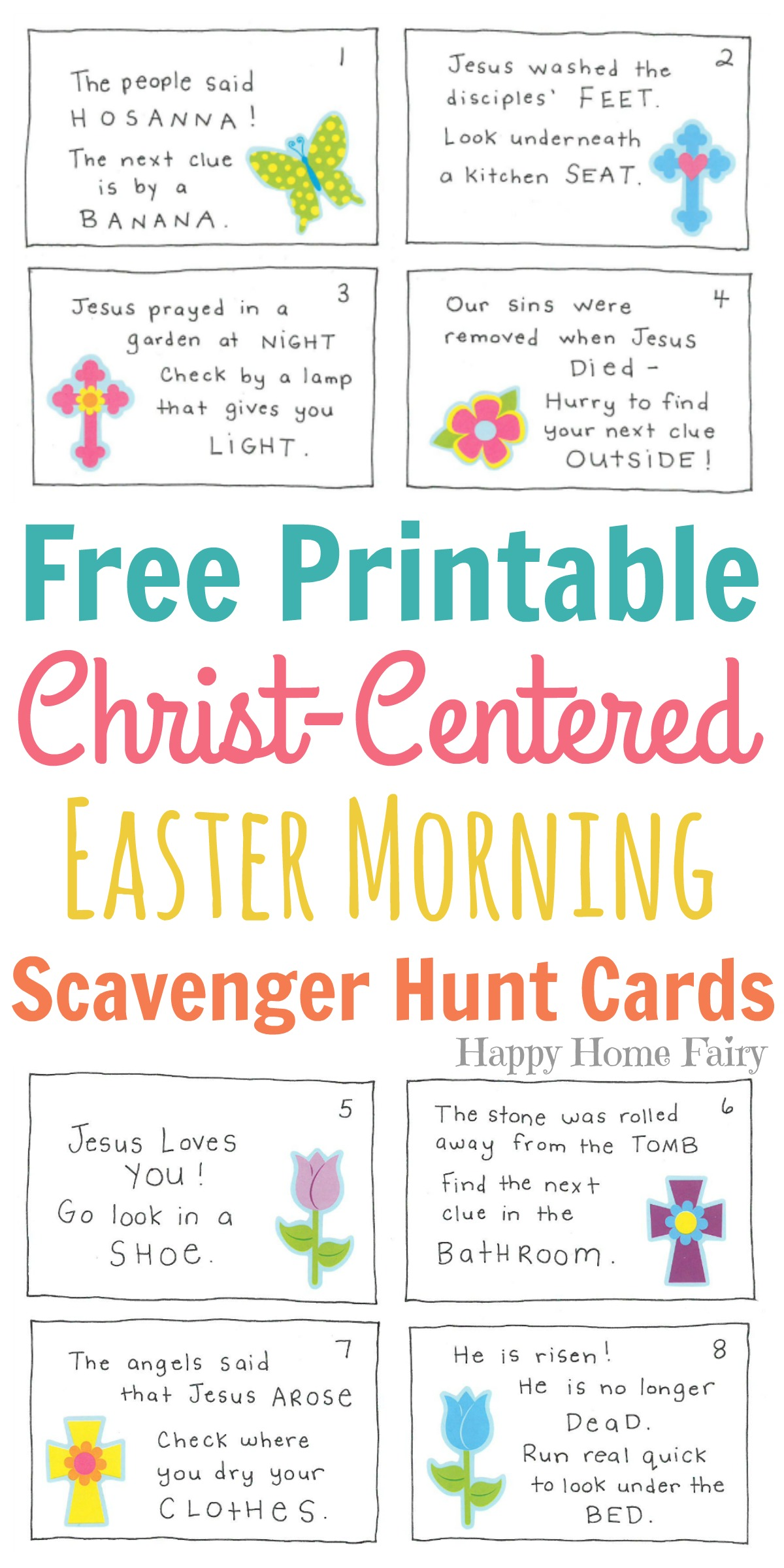 image relating to Clue Cards Printable referred to as Christ-Based Easter Early morning Scavenger Hunt for