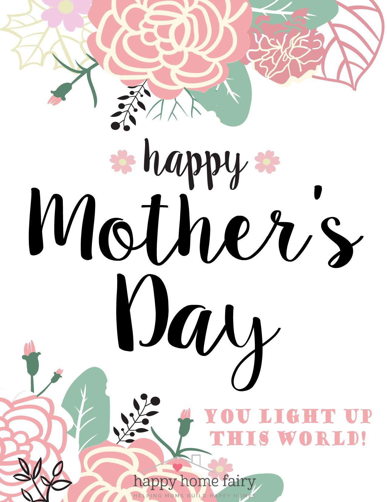 This is a photo of Remarkable Happy Mother's Day Printable