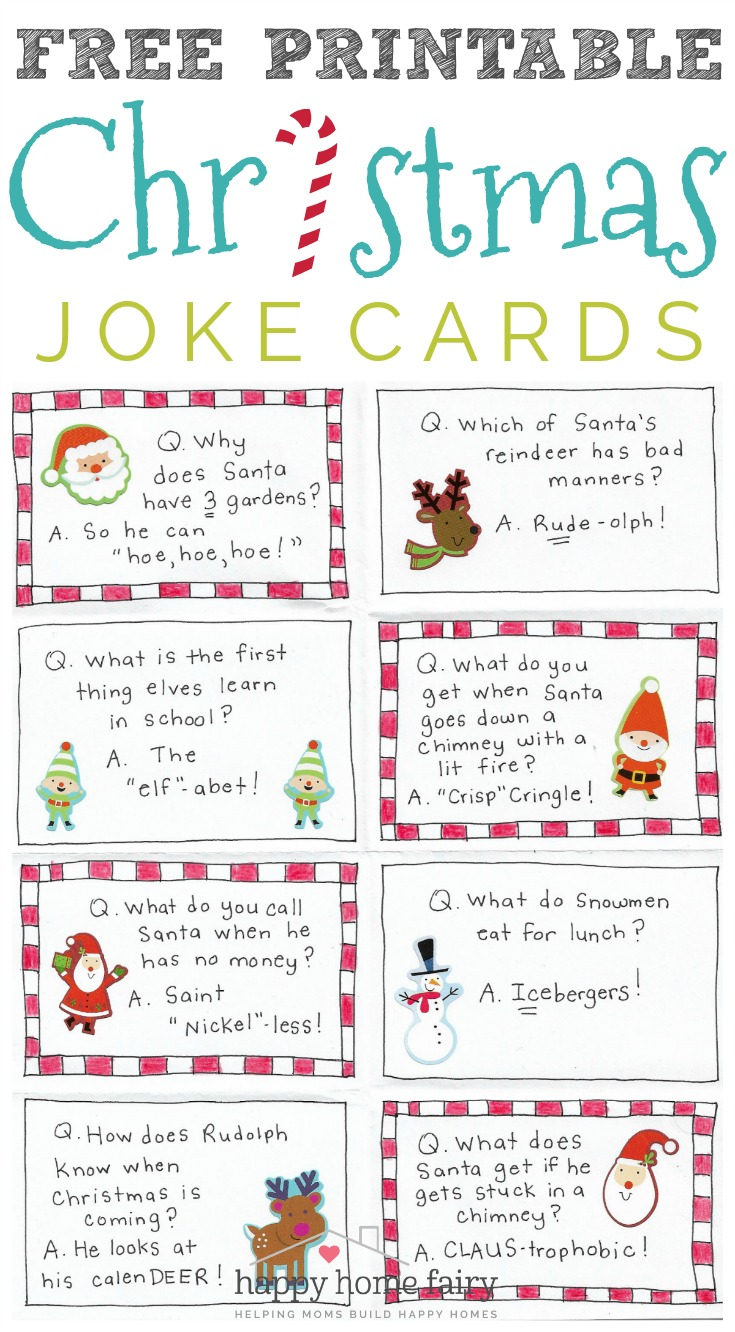 FREE Printable Christmas Joke Cards