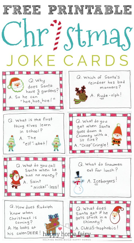 Silly Christmas Jokes.Christmas Joke Cards Free Printable Happy Home Fairy