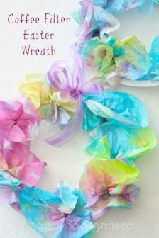 Coffee Filter Easter Wreath for Kids - Happy Hooligans