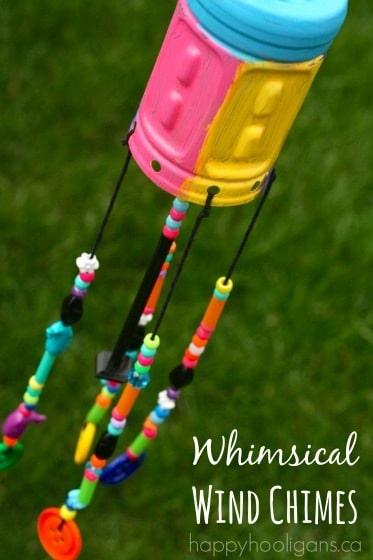 DIY Windchimes from recycled plastic Gatorade bottle