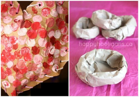 puffy hearts and birds nests made from paper bags copy