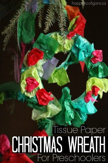 Tissue Paper Christmas Wreath For Kids Happy Hooligans